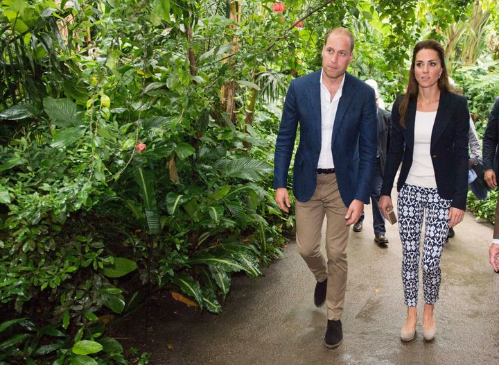 The Duke and Duchess of Cambridge explore the Rainforest Biome as they visit the Eden Project in southwest England on Sept. 2
