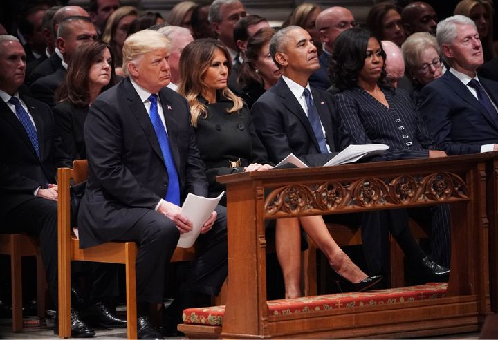 From left: President Donald Trump and first lady Melania Trump, former President Barack Obama, former first lady Michelle Oba