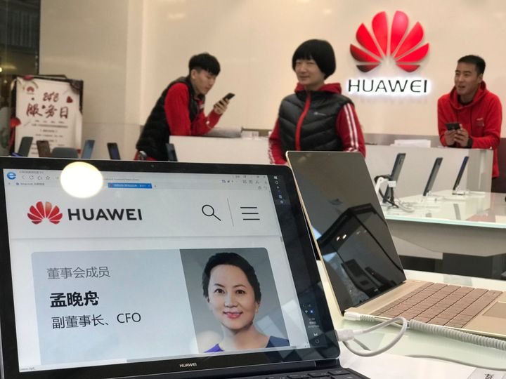 A profile of Huawei's chief financial officer Meng Wanzhou is displayed on a Huawei computer at a Huawei store in Beijing, Ch