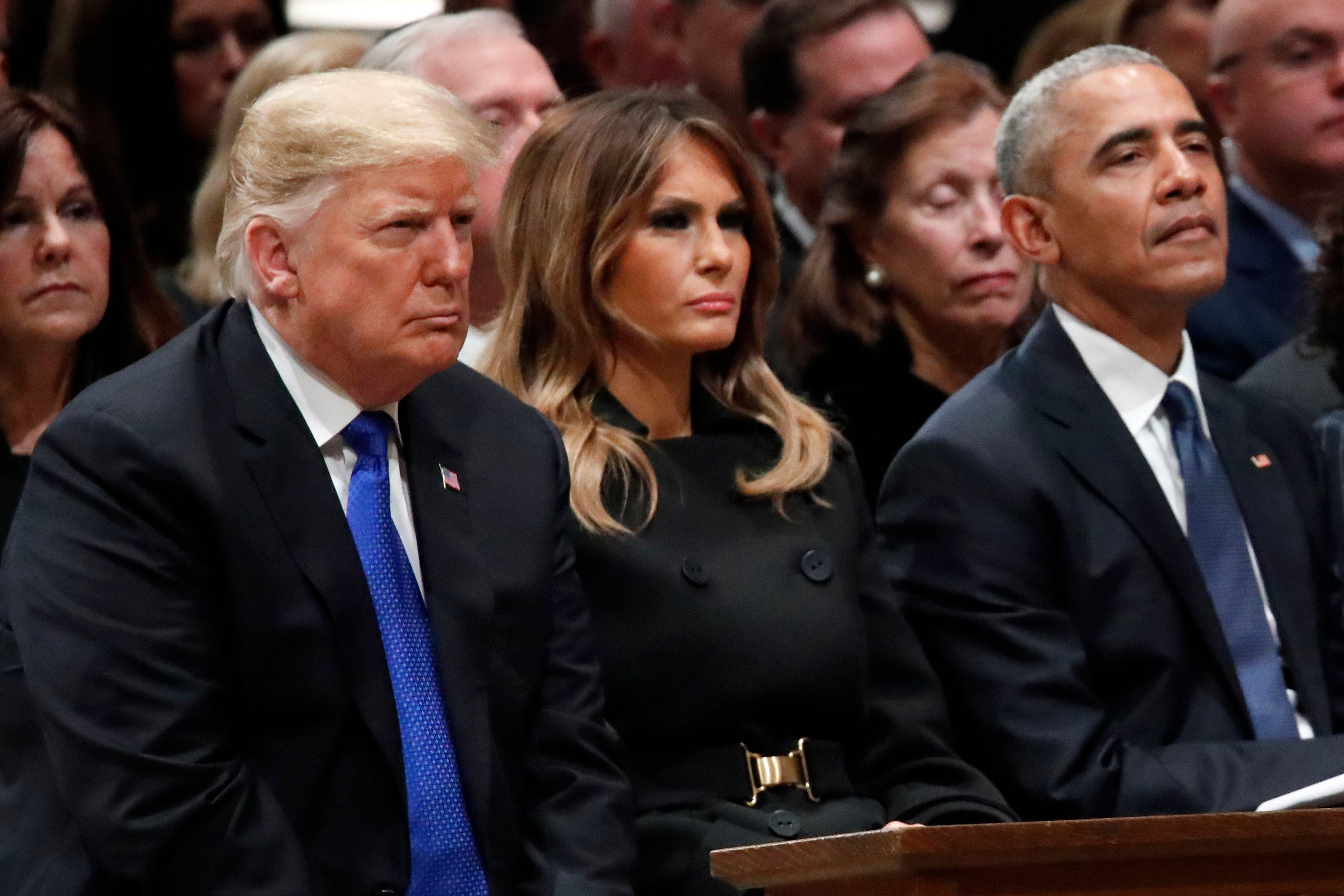 President Donald Trump, first lady Melania Trump and former President Barack Obama listen as former Canadian Prime Minister Brian Mulroney speaks during a State Funeral at the National Cathedral, Wednesday, Dec. 5, 2018, in Washington, for former President George H.W. Bush.(AP Photo/Alex Brandon, Pool)
