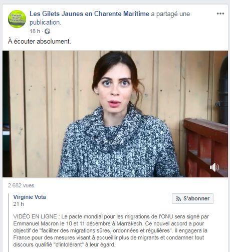 Capture d'écran de la vidéo de Virginie Vota contre le pacte de