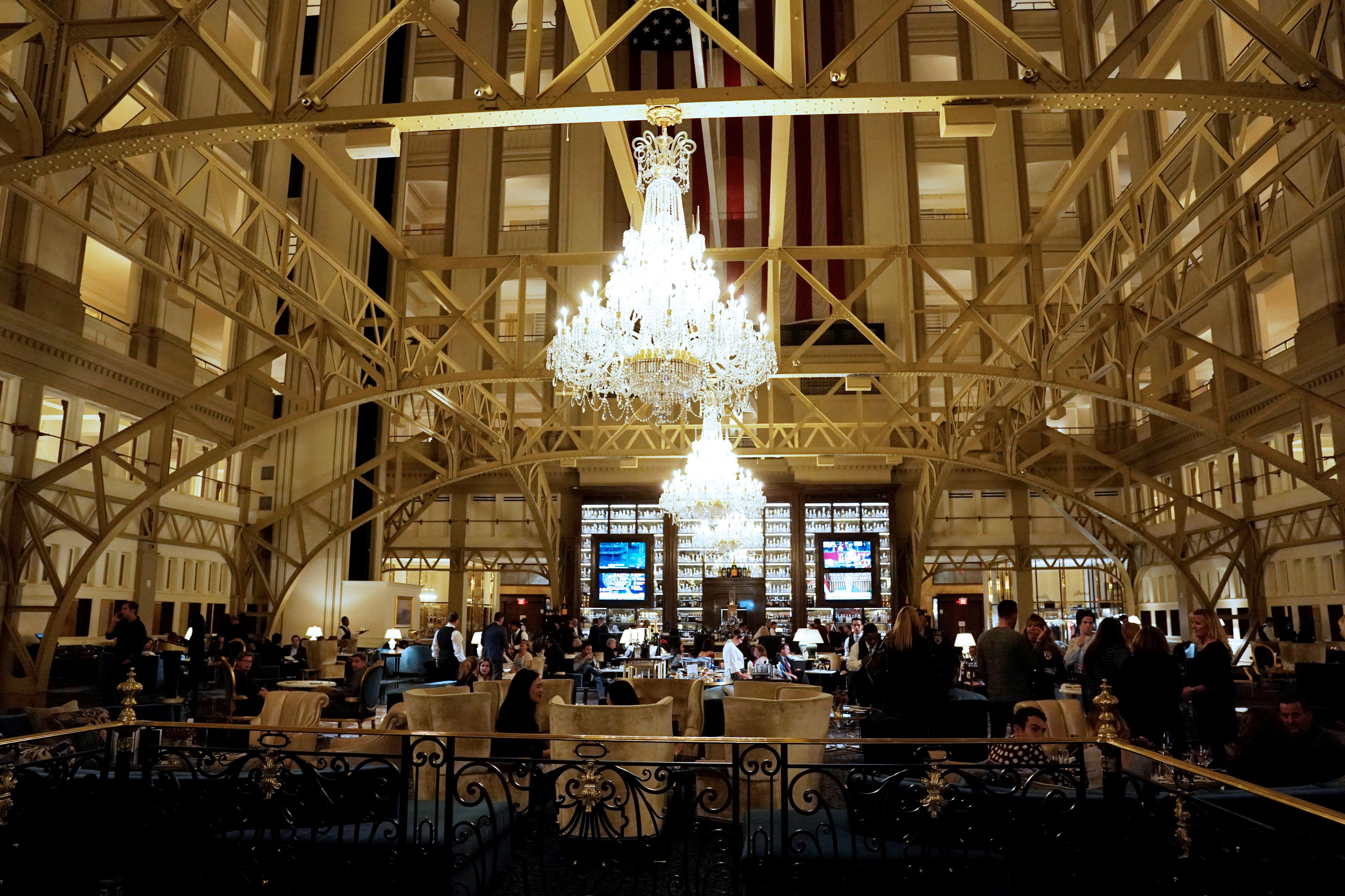 The lobby of Trump International Hotel, where U.S. President Donald Trump is hosting a dinner with supporters, in Washington, U.S., October 25, 2018. REUTERS/Al Drago