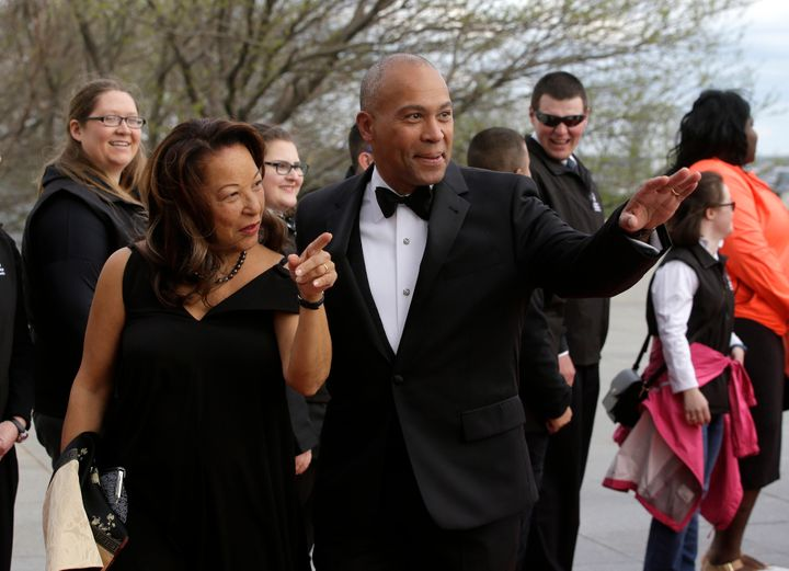 Former Massachusetts Governor Deval Patrick is seen at the John F. Kennedy Presidential Library and Museum in 2017 with