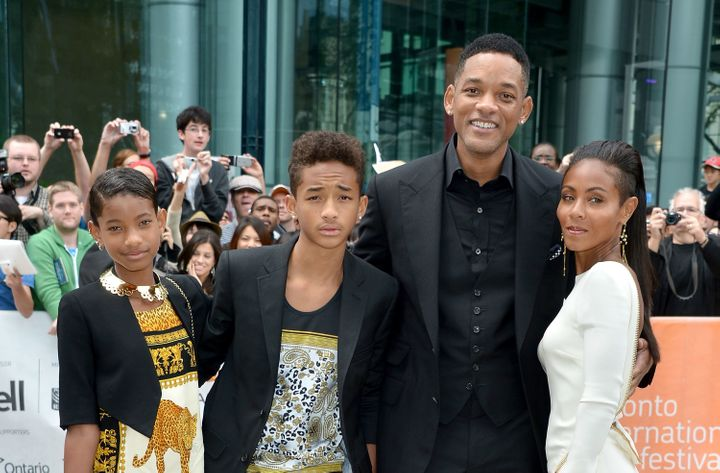 "Willow Smith, Jaden Smith, producer Will Smith and actress Jada Pinkett Smith attend the ""Free Angela & All Political Pri"