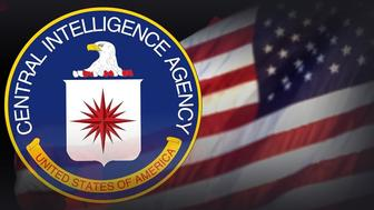 US CENTRAL INTELLIGENCE AGENCY seal, over flag texture, partial graphic
