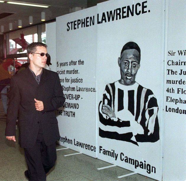 A younger Jamie Acourt arrives to give evidence in a public inquiry into the murder of Stephen