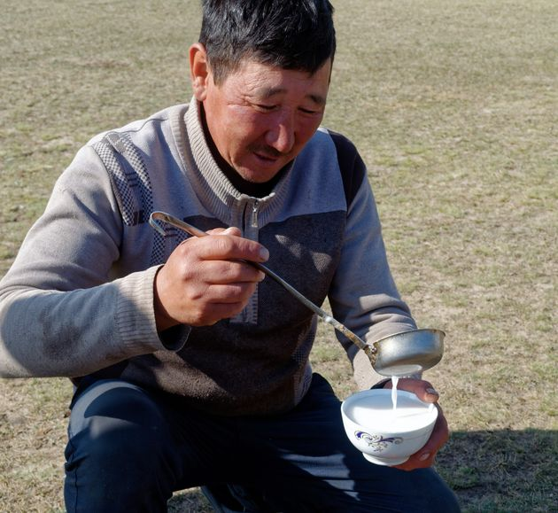 Kumis, fermented mare's milk, is the Kyrgyz drink of