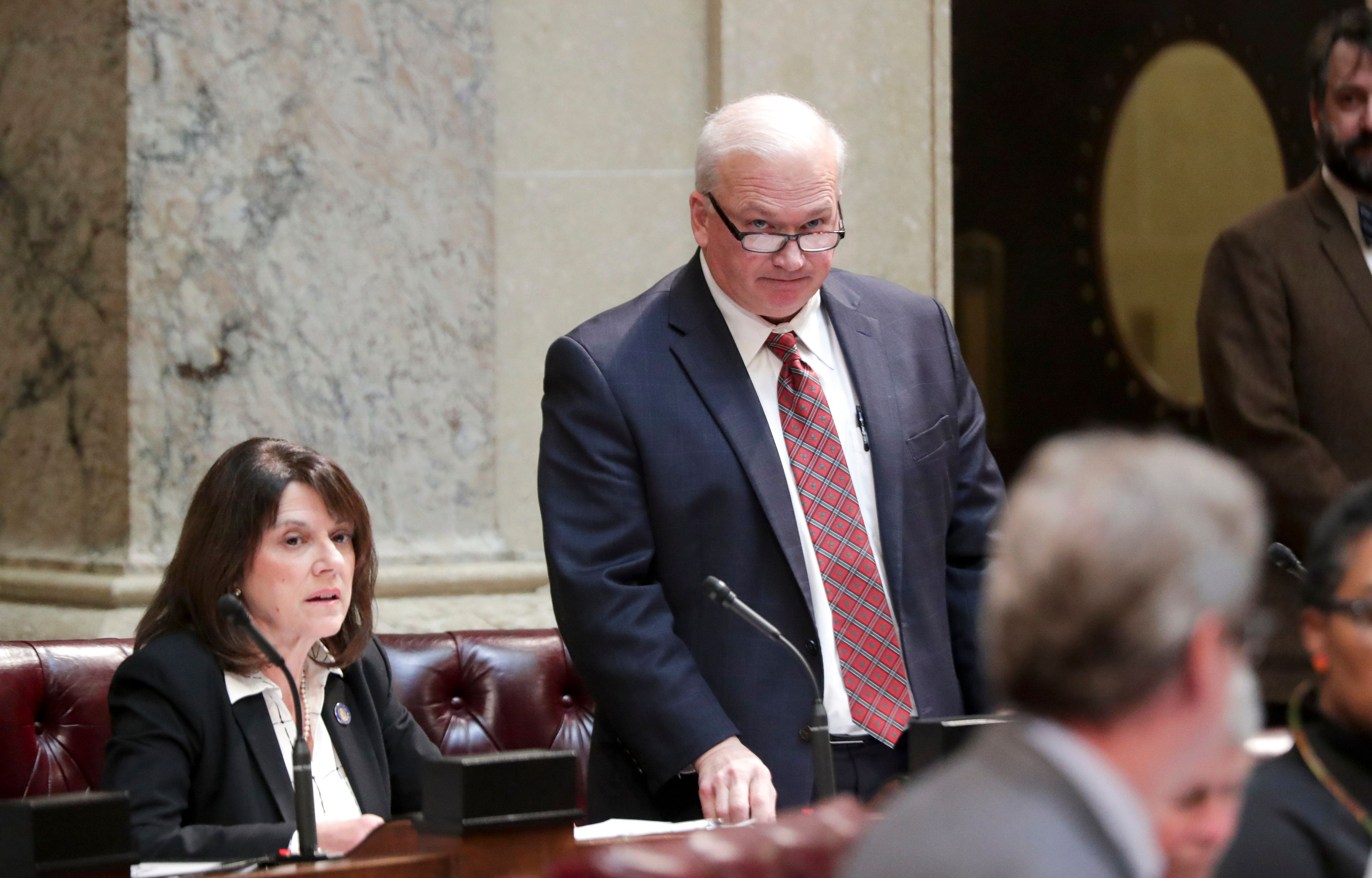 State Senate Majority Leader Scott Fitzgerald, R - Juneau, right, and State Sen. Leah Vukmir, R - Brookfield, listen during a special session of the senate, Tuesday Dec. 4, 2018, at the Capitol in Madison, Wis. (Steve Apps/Wisconsin State Journal via AP)