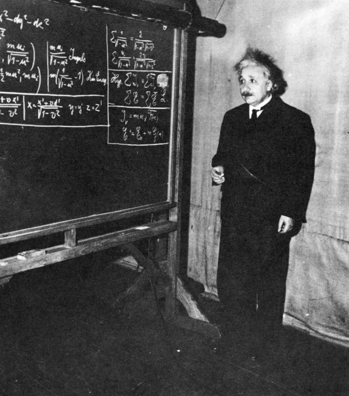 Theoretical physicist Albert Einstein giving a lecture at the Carnegie Institute of Technology in Pittsburgh, 1934.