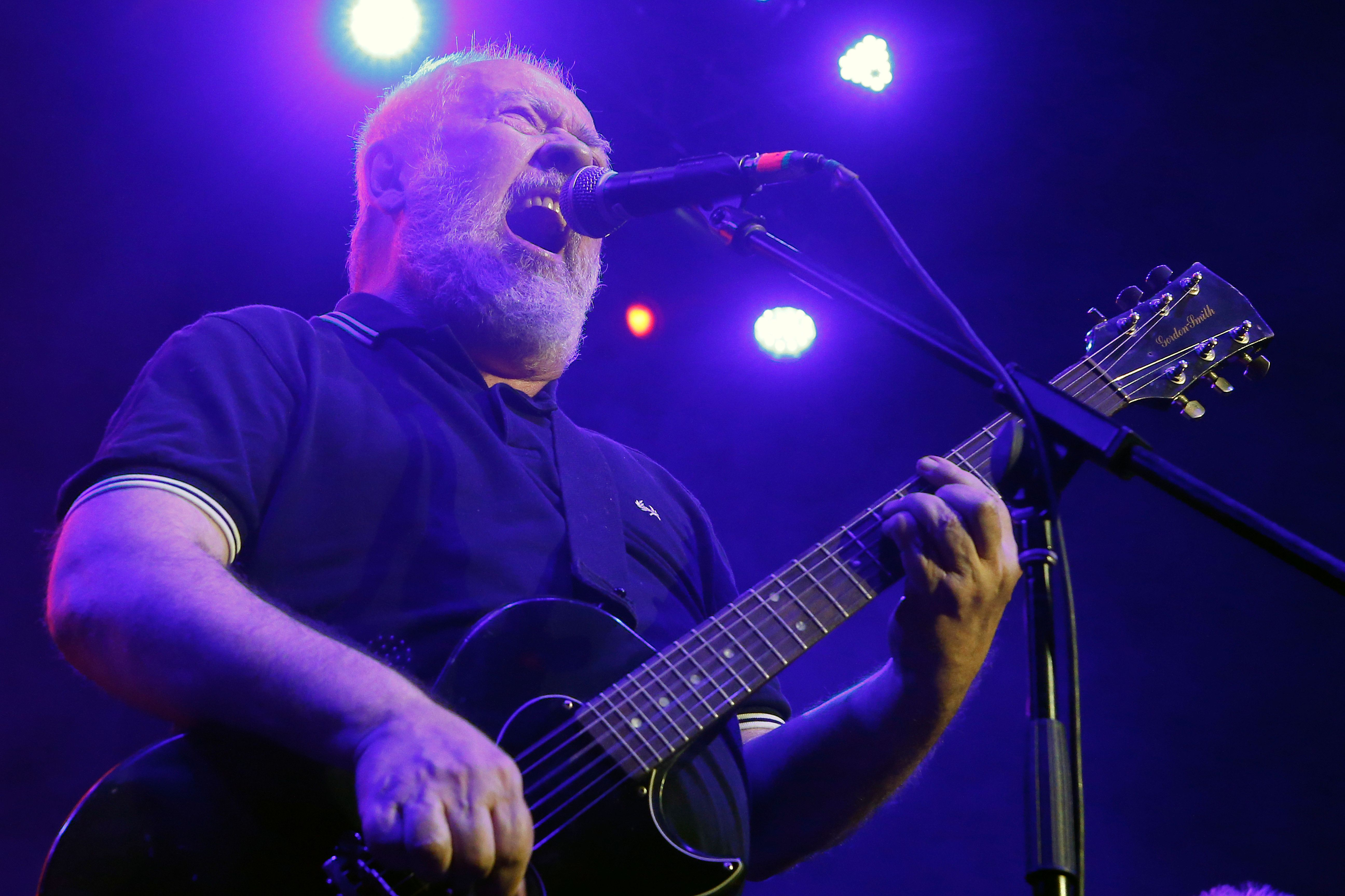 Frontman Pete Shelley of the British punk band Buzzcocks, performs at Plaza Condesa in the 6th edition of the Marvin Festival, in Mexico City, Saturday, May 19, 2018. (AP Photo/Marco Ugarte)