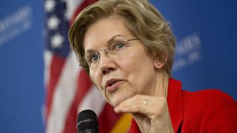Senator Elizabeth Warren, a Democrat from Massachusetts, speaks during a discussion at American University in Washington, D.C., U.S., on Thursday, Nov. 29, 2018. Warren said she opposes Nafta 2.0 in a foreign policy speech and will vote against it unless President Donald Trump reopens the agreement and produces a better deal for Americas working families. Photographer: Andrew Harrer/Bloomberg via Getty Images