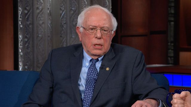 Sen. Bernie Sanders (I-Vt.) updated Stephen Colbert on his 2020 plans.