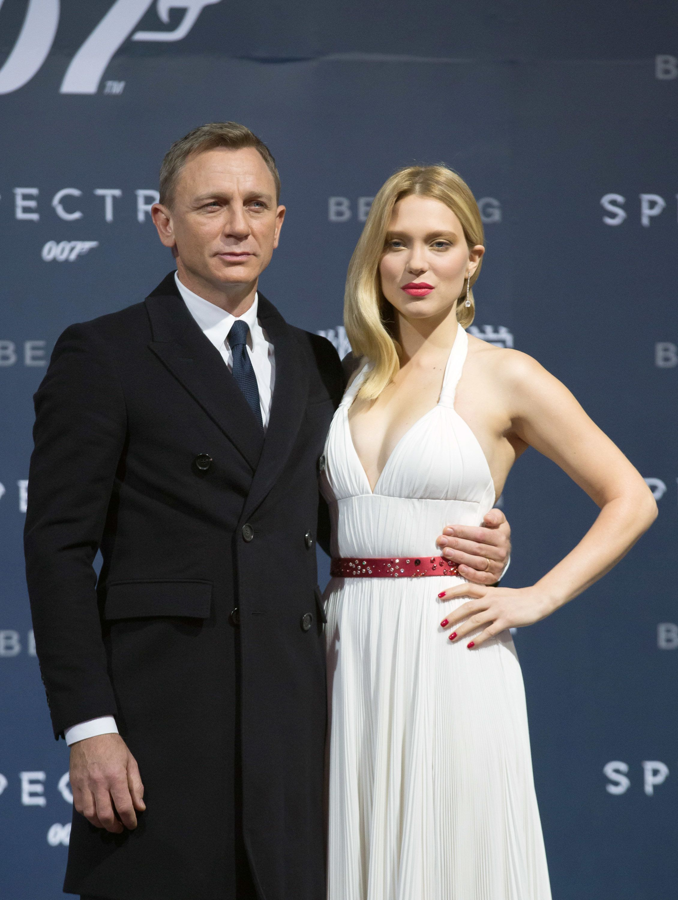 BEIJING, CHINA - NOVEMBER 12:  (CHINA OUT) Actor Daniel Craig and actress Lea Seydoux attend 'Spectre' premiere at The Place on November 12, 2015 in Beijing, China.  (Photo by VCG/VCG via Getty Images)