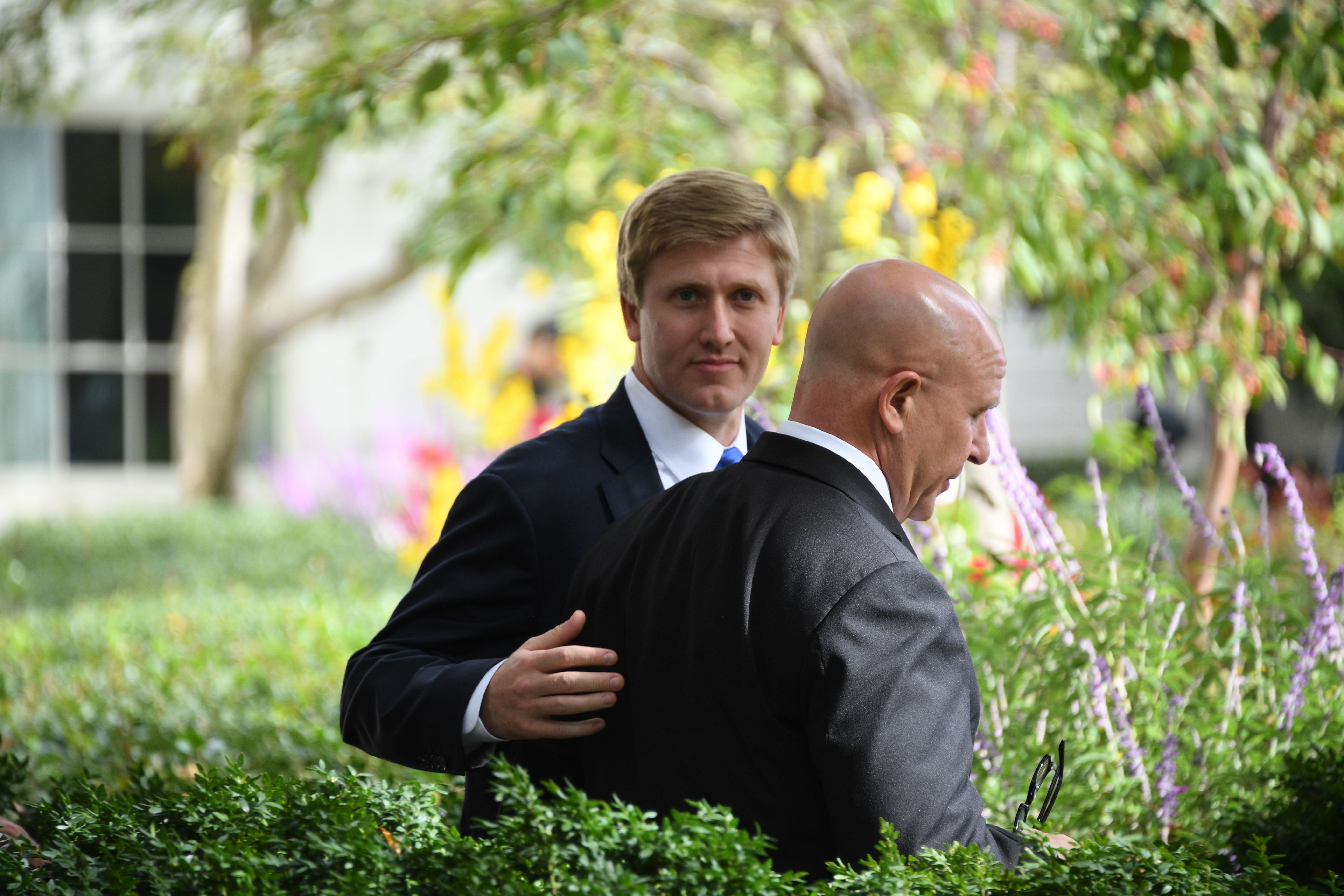 US Vice President Mike Pence's chief of staff Nick Ayers(L) walks with National Security Adviser H.R. McMaster after a joint press conference between US President Donald Trump and Singaporean Prime Minister Lee Hsien Loong in the Rose Garden of the White House in Washington, DC, October 23, 2017. / AFP PHOTO / JIM WATSON        (Photo credit should read JIM WATSON/AFP/Getty Images)