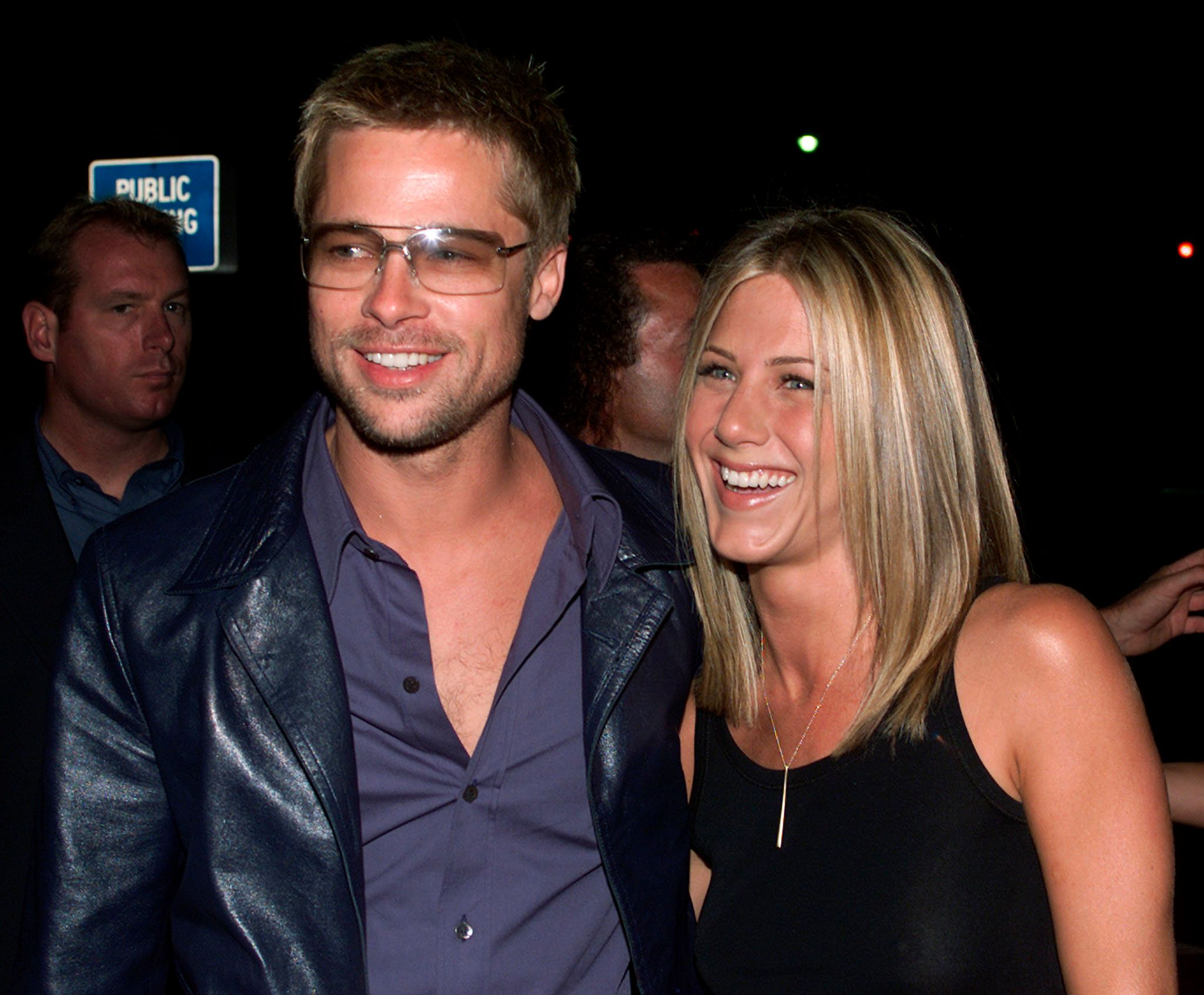 "Jennifer Aniston and Brad Pitt seen at the premiere of ""Rock Star"" in Los Angeles on Sept. 4, 2001."