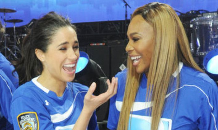Meghan Markle and Serena Williams, pictured at a celebrity flag football event in 2014, have given each other advice for year