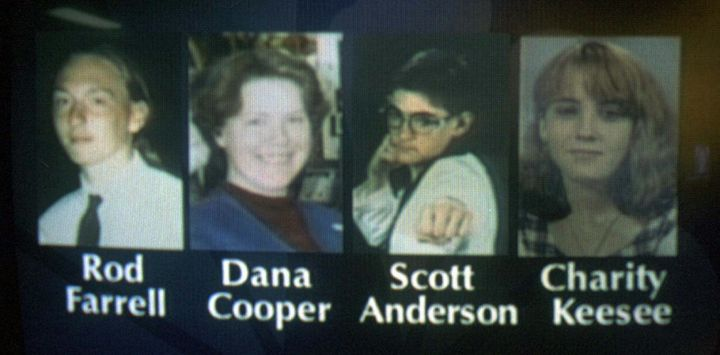 This image from a Nov. 29, 1996, broadcast on WPSD-TV in Paducah, Kentucky, shows the teens arrested in connection with the s