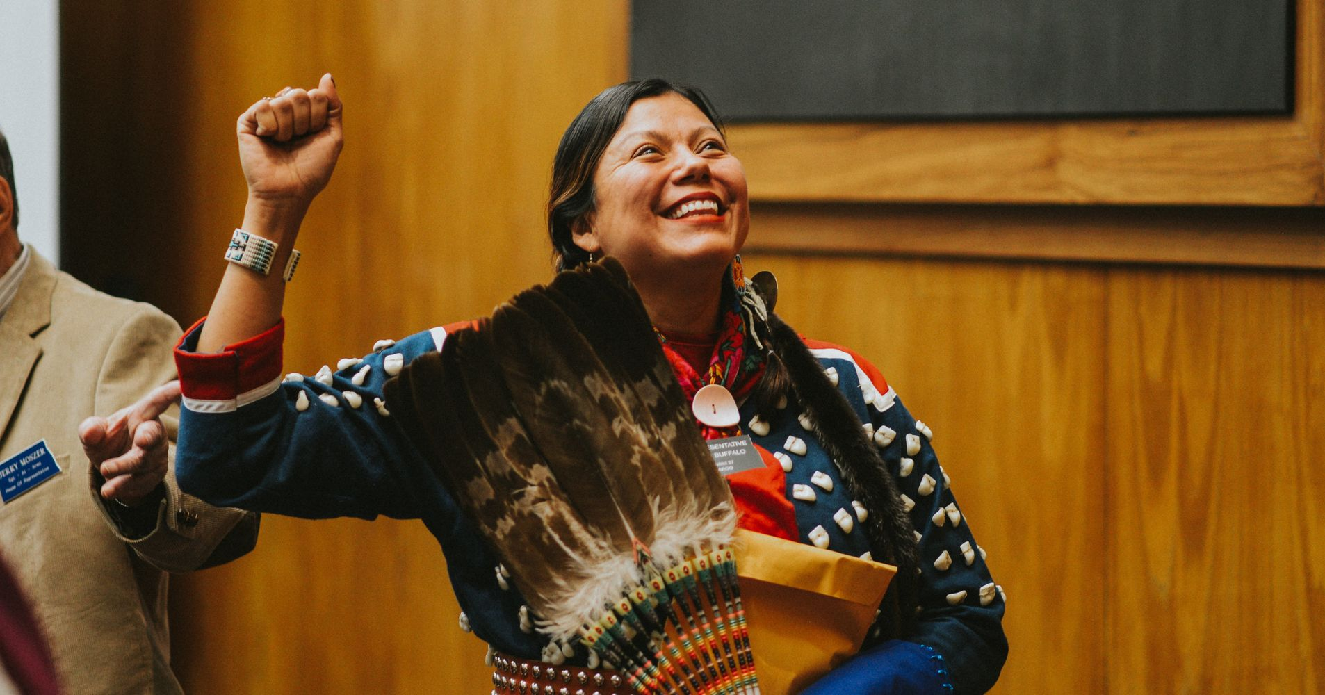 ce3bce346 First Native Woman Democrat In N.D. Statehouse Takes Oath In Traditional  Dress | HuffPost