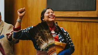 In North Dakota's state Capitol on Monday, Ruth Buffalo stood in the chambers with her hand raised and made history as the first Native American Democratic woman to be sworn into the state's legislature.