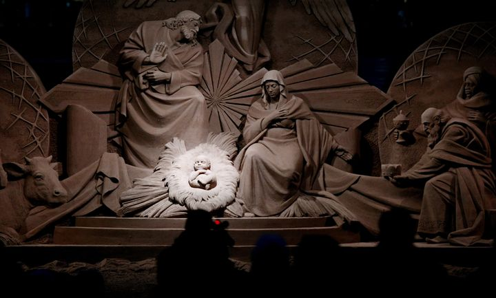 A nativity scene made of sand was unveiled in St. Peter's Square at Vatican City on December 7, 2018.