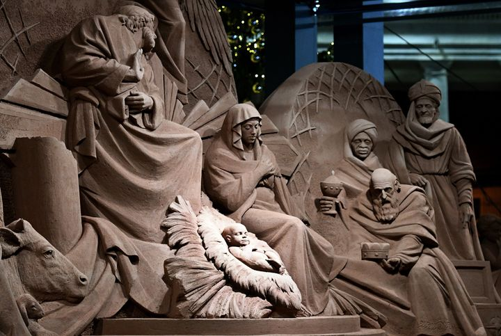The life-sized nativity scene was designed by Rich Varano, a professional sand artist.