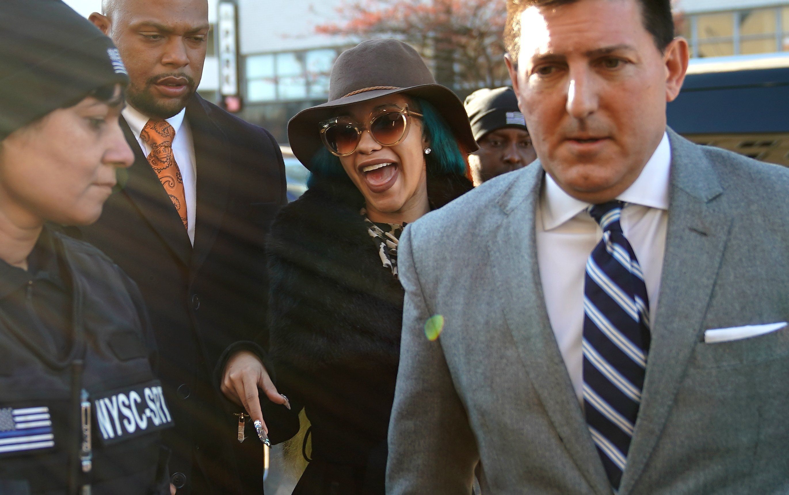 Rapper Cardi B, whose real name is Belcalis Almanzar, arrives at Queens County Court on December 7, 2018, to face charges stemming from a strip club fight in Queens. (Photo by TIMOTHY A. CLARY / AFP)        (Photo credit should read TIMOTHY A. CLARY/AFP/Getty Images)