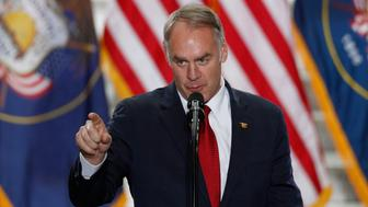 SALT LAKE CITY, UT - DECEMBER 4: Interior Secretary Ryan Zinke gives a speech before U.S. President Donald Trump arrives at the Rotunda of the Utah State Capitol on December 4, 2017 in Salt Lake City, Utah. Trump  announced the reduction in size of the Bears Ears and Grand Staircase-Escalante National Monuments which were created by Presidents Obama and Clinton.  (Photo by George Frey/Getty Images)