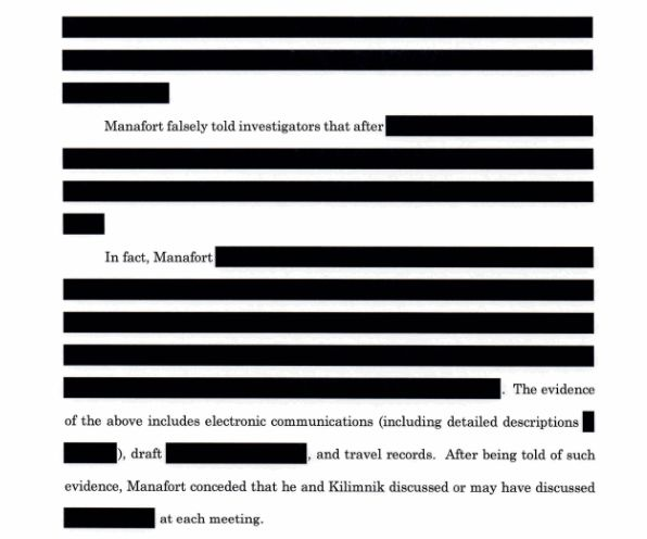 Portions about Manafort's interactions with Kilimnik are heavily redacted.