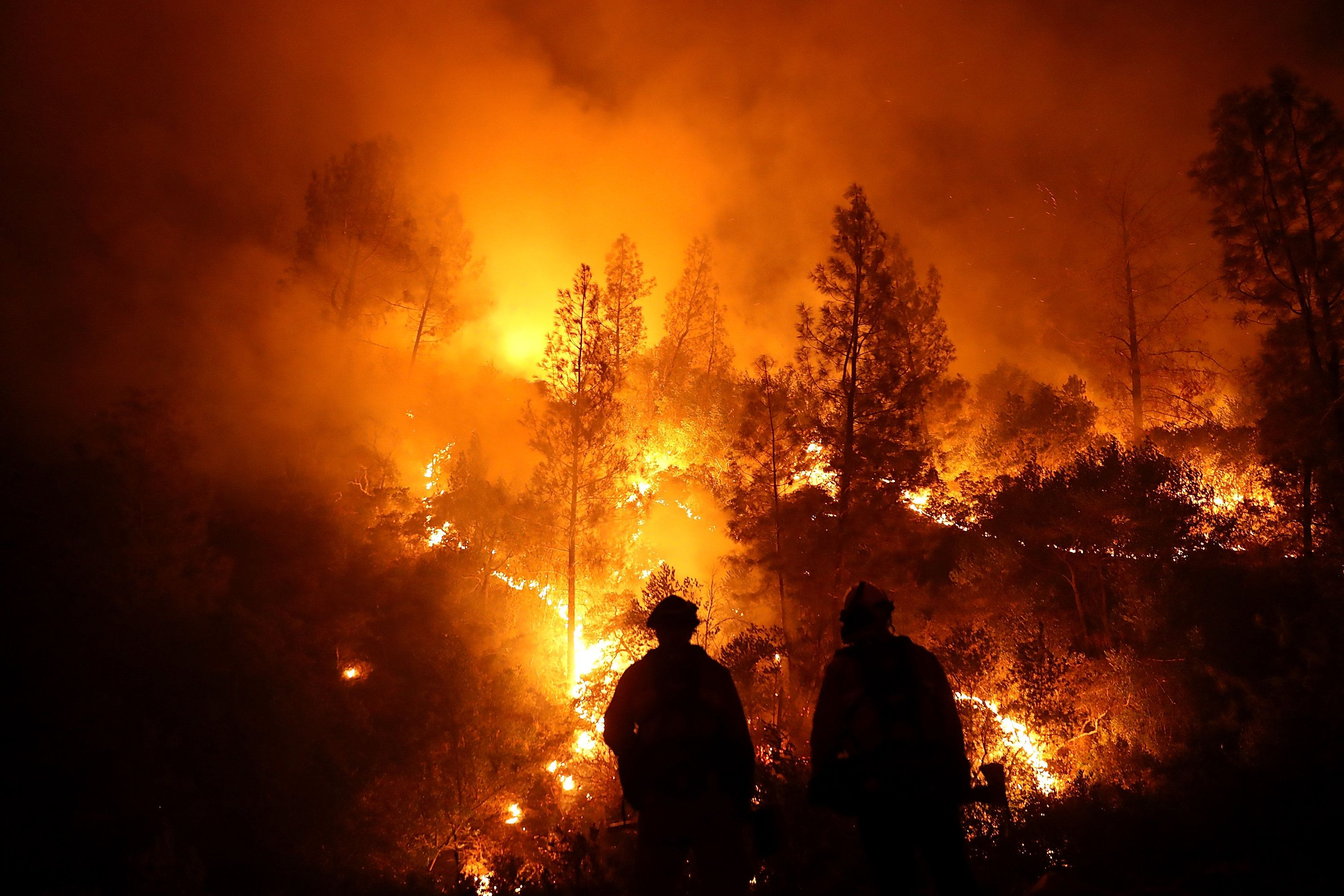 LODOGA, CA - AUGUST 07:  Firefighters monitor a back fire as they battle the Medocino Complex fire on August 7, 2018 near Lodoga, California. The Mendocino Complex Fire, which is made up of the River Fire and Ranch Fire, has surpassed the Thomas Fire to become the largest wildfire in California state history with over 280,000 acres charred and at least 75 homes destroyed.  (Photo by Justin Sullivan/Getty Images)