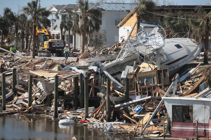 Debris from Hurricane Michael along the canal in Mexico Beach, Florida.