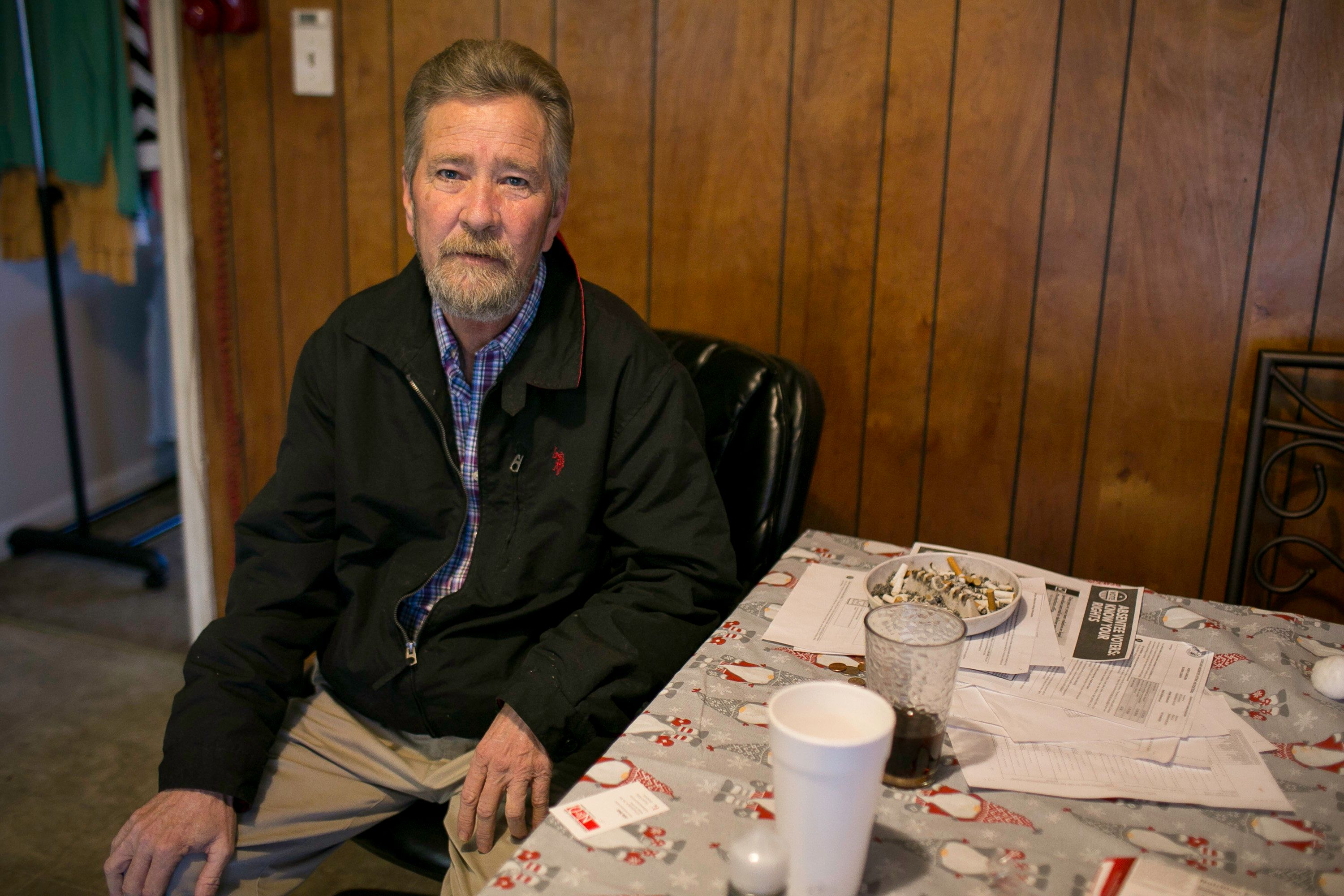 BLADENBORO, UNITED STATES - DECEMBER 5: Leslie McCrae Dowless sits in his kitchen in Bladenboro, NC. Dowless who worked provide get-out-the-vote services for Republican candidate Mark Harris in North Carolinas 9th Congressional District in Bladen County, NC. The North Carolina State Board of Elections and Ethics Enforcement decided not to certify the 9th Congressional District election results, which includes Bladen County, between Harris and Democrat Dan McCready due to possible voter fraud involving absentee ballots. A controversy Leslie McCrae Dowless is at the center of. (Photo by Justin Kase Conder for The Washington Post via Getty Images)