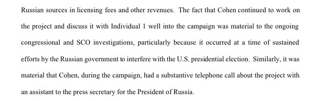 Mueller noted that Cohen's alleged discussions of the Moscow Project with Trump were especially concerning considering Russia