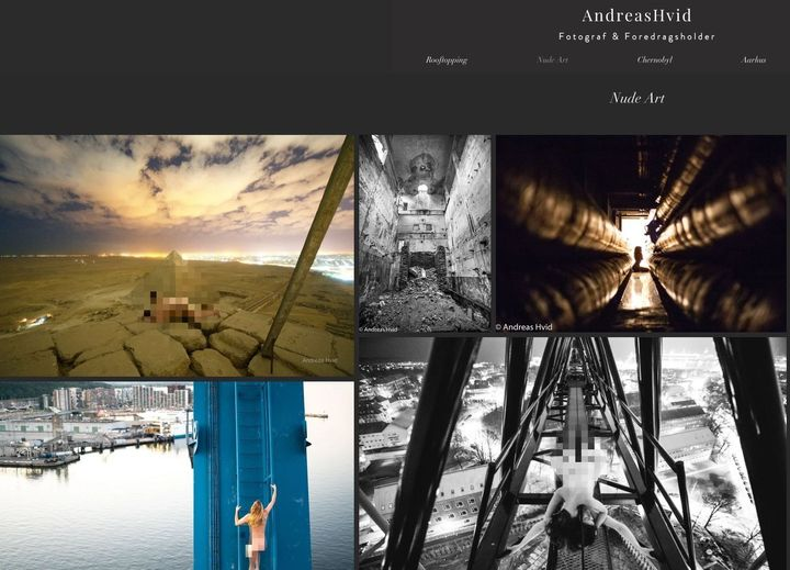 The website of photographer Andreas Hvid includes several images which appear to show subjects nude on historic landmarks, in