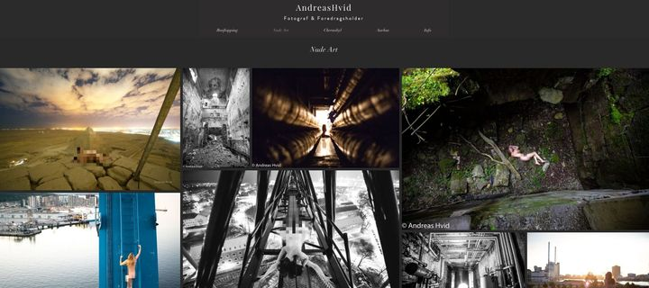 The website of photographer Andreas Hvid includes several images which appear to show subjects nude on historic landmarks, including the pyramids at Giza, top left. (Pixellated by HuffPost UK).