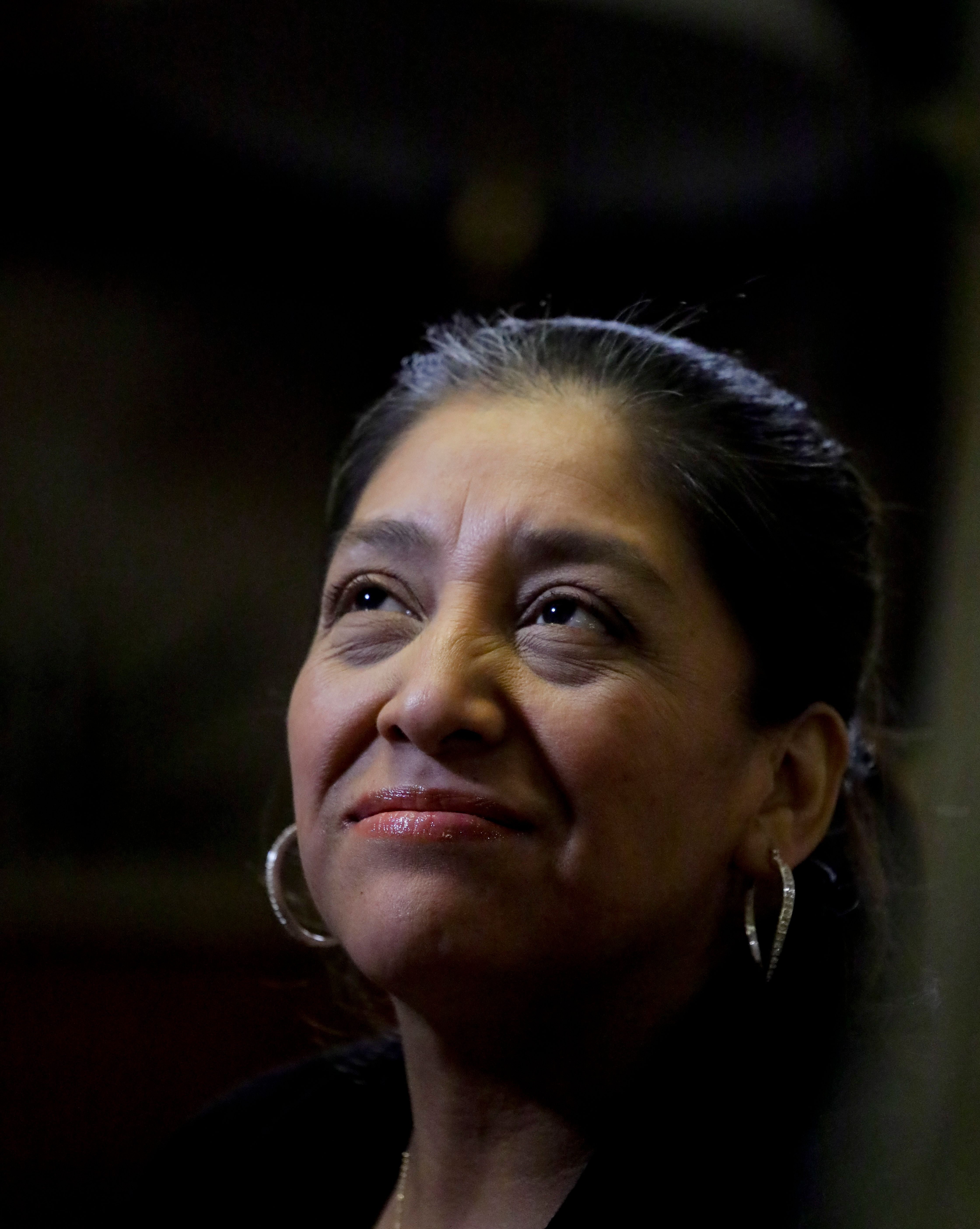 Victorina Morales recalls her experience working at President Donald Trump's golf resort in Bedminster, N.J., during an interview, Friday Dec. 7, 2018, in New York. Morales say she used false legal documents to get hired at the resort and supervisors knew it. (AP Photo/Bebeto Matthews)