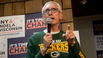 MILWAUKEE, WI - NOVEMBER 04: Wisconsin Governor Tony Evers speaks to supporters as he makes a campaign stop at the Coordinated Campaign southside office on November 4, 2018 in Milwaukee, Wisconsin. (Photo by Darren Hauck/Getty Images)