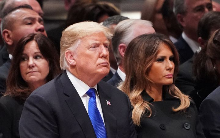 President Donald Trump and first lady Melania Trump are seen at the National Cathedral in Washington, D.C., duringa fun