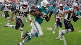 Miami Dolphins running back Kenyan Drake scored a late touchdown to earn his side a 34-33 win and stop the New England Patriots clinching a 10th successive AFC East title (Lynne Sladky/AP)