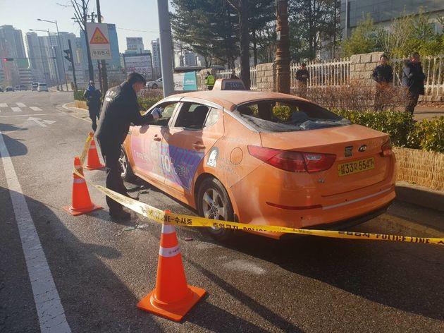 국회 앞에서 분신 시도한 택시기사가
