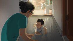 한부모 가정의 아름다운 순간들을 그린 일러스트