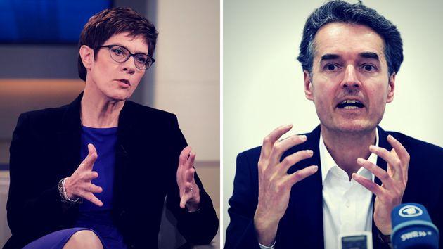 Die neue CDU-Chefin Annegret Kramp-Karrenbauer und der Vorsitzende der konservativen Werteunion, Alexander Mitsch.