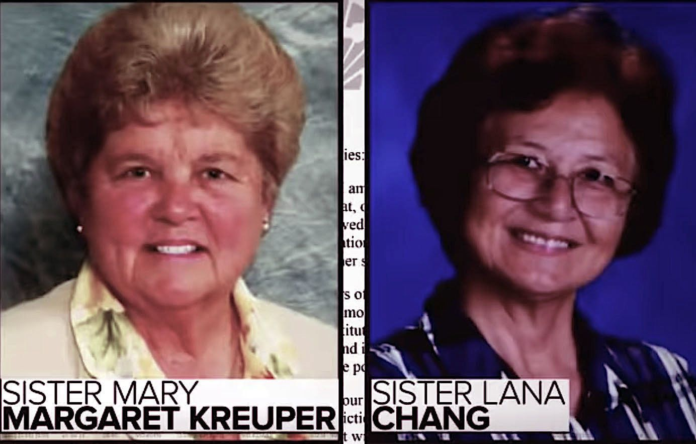 Two nuns, Sister Mary Margaret Kreuper and Sister Ana Chang, are accused of taking money from a Catholic school in California.