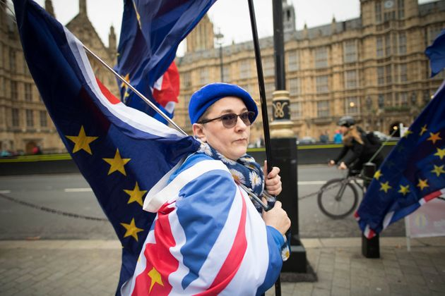 Eine Anti-Brexit-Demonstrantin vor dem britischen Parlament in London am 6. Dezember.