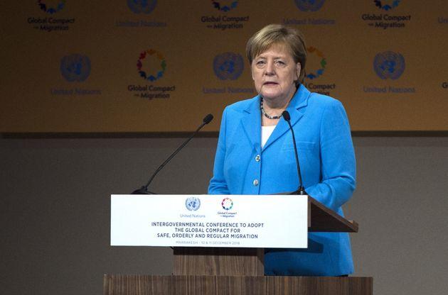Kanzlerin Angela Merkel während ihrer Rede auf der UN-Konferenz am Montag.