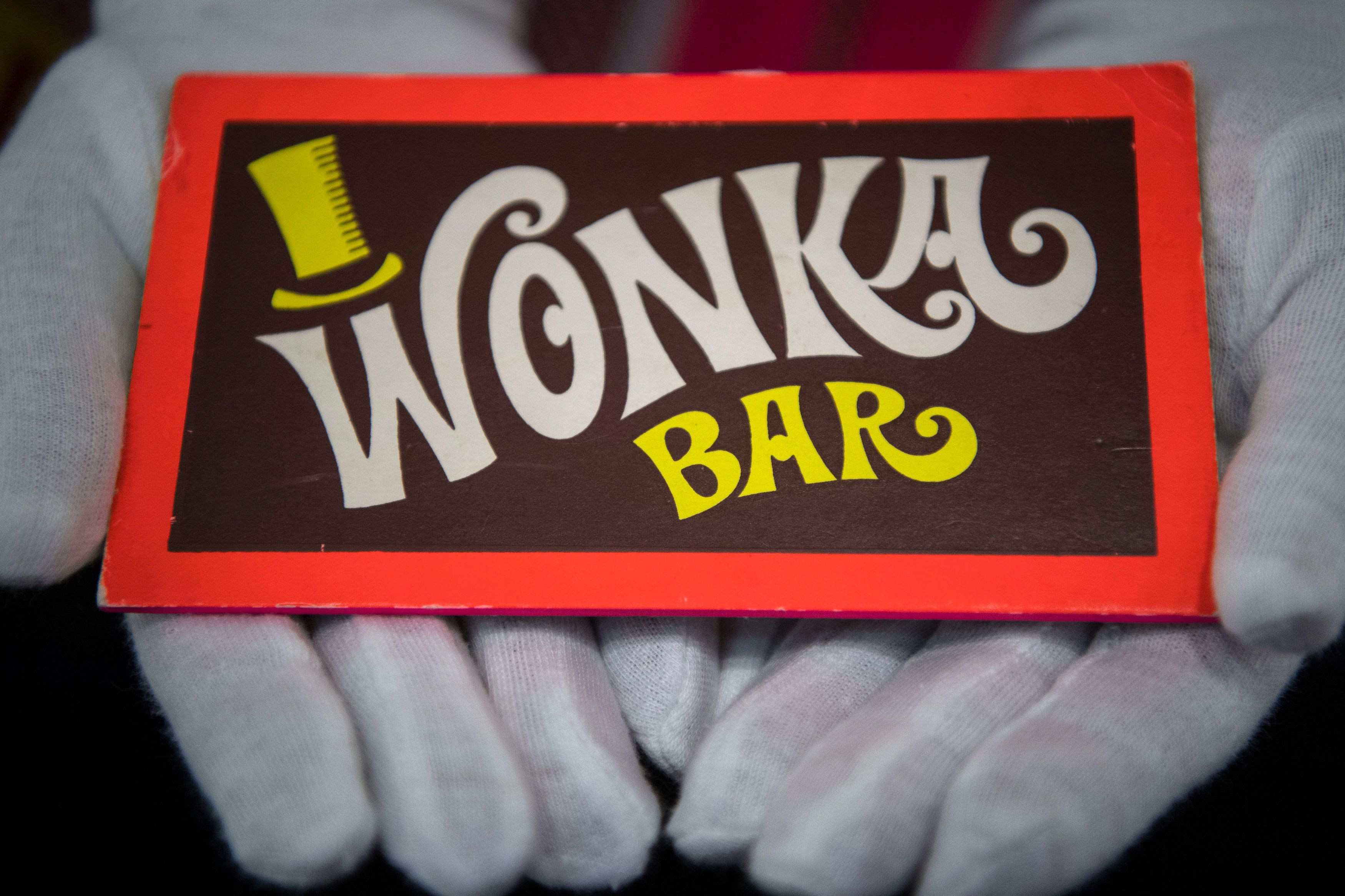 A Wonka Bar from Willy Wonka and the Chocolate Factory (1997) at the Prop Store film memorabilia exhibition at the BFI IMAX at Waterloo in central London. (Photo by Victoria Jones/PA Images via Getty Images)
