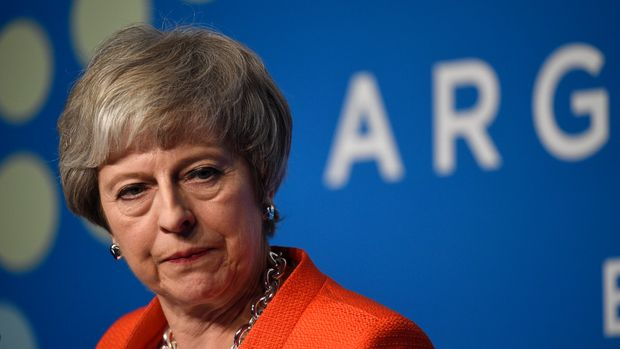 Britain's Prime Minister Theresa May speaks during a press conference after the G20 Leader's Summit in Buenos Aires, Argentina, Saturday, Dec. 1, 2018. Leaders from the Group of 20 industrialized nations met for two days in Buenos Aires. (AP Photo/Gustavo Garello)