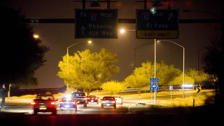 Streetlights guide the way for traffic in Tucson, Arizona. A rise in copper wire thefts from lights on some state roadways ac