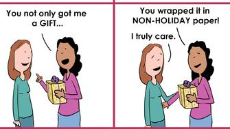 Adrienne Hedger's comics sum up what it's like to have a birthday close to the holidays.