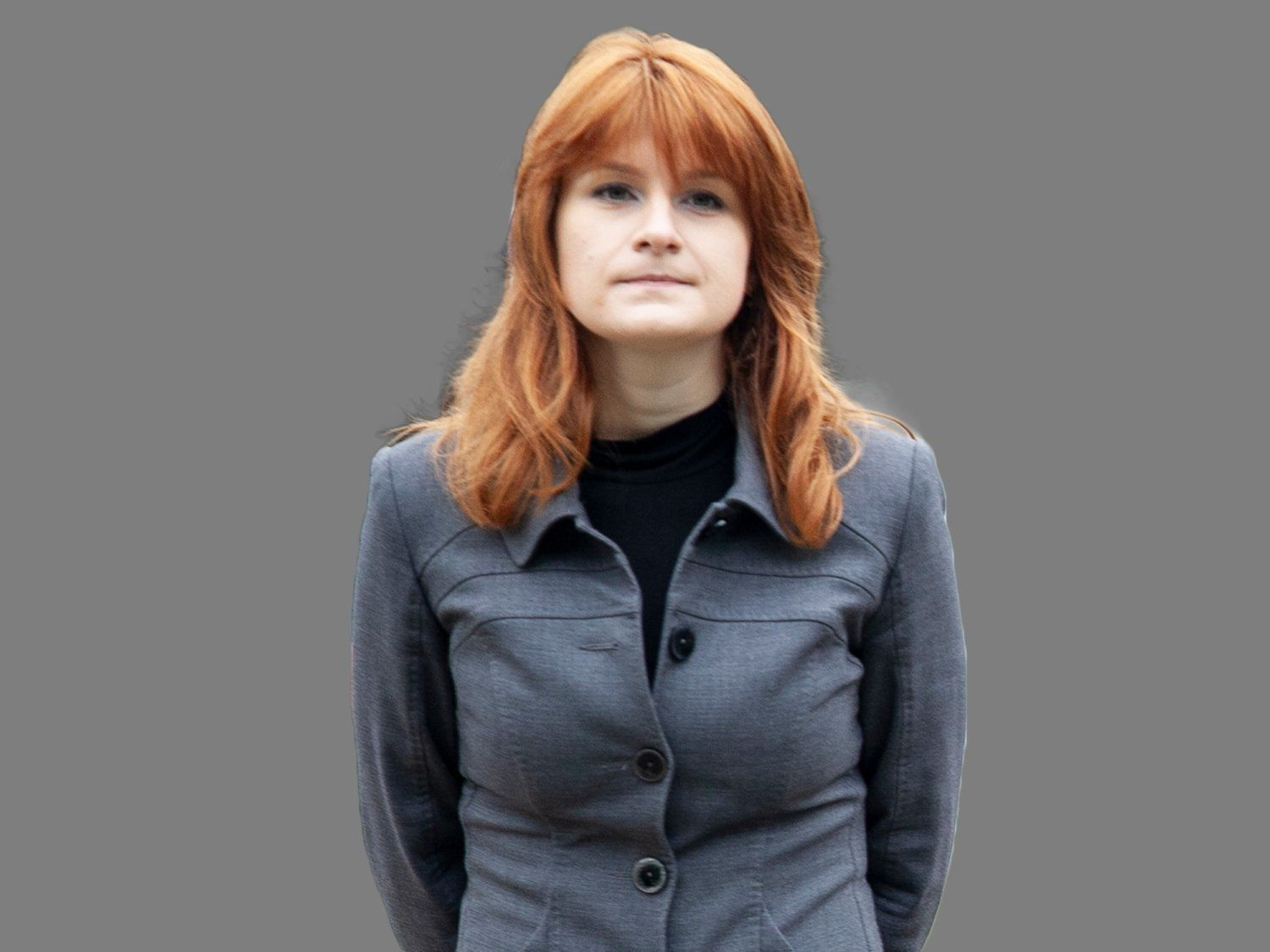 Maria Butina, woman charged with being a Russian agent who was arrested in the US, graphic element on gray