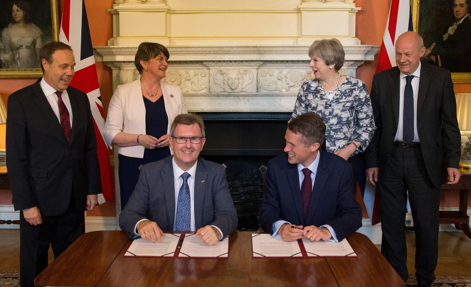 DUP chief whip Jeffrey Donaldson and then Government Chief Whip Gavin Williamson in